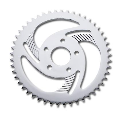 Custom Chrome Sprocket Wheel Swept 3-Spoke 48Teeth  - 08-0281