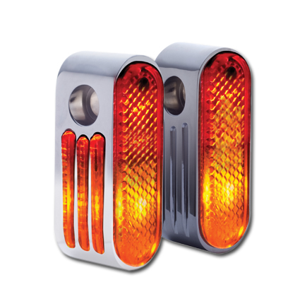 """Rick Doss Inc Rick Doss Marker Lights, chrome with red lens, single bulb and 3/8"""" mounting hole  - 09-126"""