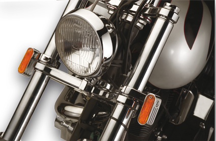 Rick Doss Inc Rick Doss Marker Lights, chrome with amber lens and single bulb incl. 41mm fork mounts  - 09-159