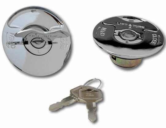 Custom Chrome Replacement Flush Locking Gas Cap Set  - 15-639