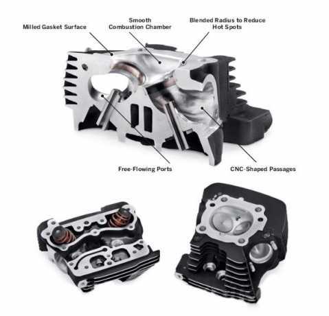 Harley-Davidson Screamin Eagle Pro CNC Ported Factory Zylinderköpfe mit Ventil Upgrade - Komplettes Kit  - 16500208