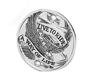Custom Chrome Point Cover Live to Ride a Way of Life chrome  - 19-008