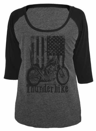 Thunderbike Clothing Thunderbike Damen Longsleeve US Flag, grau  - 19-10-1043V