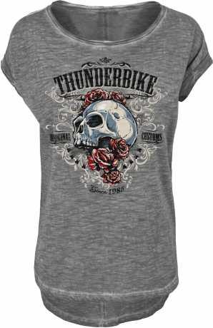 Thunderbike Clothing Thunderbike Damen T-Shirt Grunge Skull grau  - 19-11-1133V
