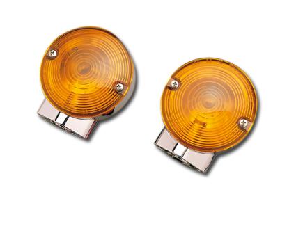 Custom Chrome Blinkleuchten mit Zweifadenbirnen  - 19-114