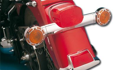 Custom Chrome Gekürzter hinterer Blinkerhalter Stahl chrom  - 12-254