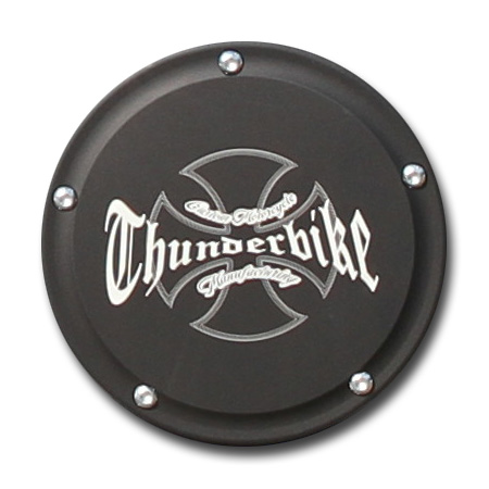 Thunderbike Derby Cover Thunderbike matte black anodized  - 22-72-450