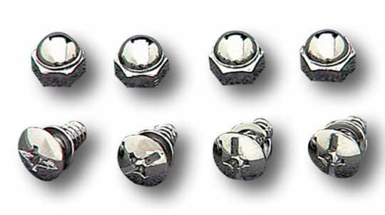 Custom Chrome License Plate Screws & Nut Set  - 24-0130