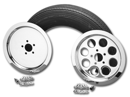 Custom Chrome 8-Hole rear Pulley Cover for 65-Tooth, chrom  - 25-325