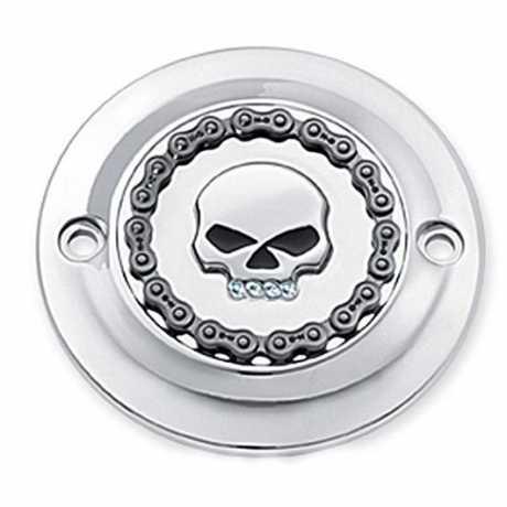 Harley-Davidson Timer Cover jeweled Skull & Chain chrome  - 25600003