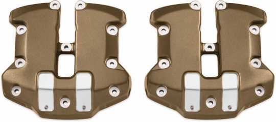 Harley-Davidson Dominion Upper Rocker Box Covers - Bronze with Highlighted Slots  - 25700780