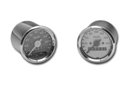 MMB MMB Mini Tacho 48mm 2:1, km/h alu / schwarz  - 86-029
