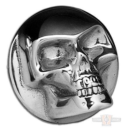 Custom Chrome Gas Cap Cover Skull  - 37-863