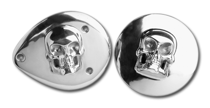 Custom Chrome Air Cleaner Insert Cover Skull  - 33-151