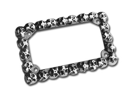 Custom Chrome Skull Aluminum License Plate Frame 175 x 100 mm Polished  - 37-857