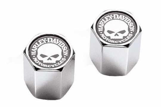 Harley-Davidson Valve Stem Caps Skull white on black, ABS chrome  - 41171-03
