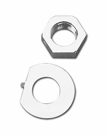 "Custom Chrome Stem nut and lock washer kit 1""-24 thread  - 50-0602"