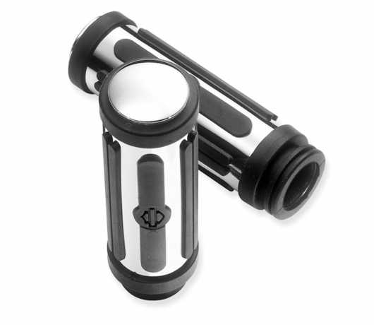 Hand Grips Chrome & Rubber large