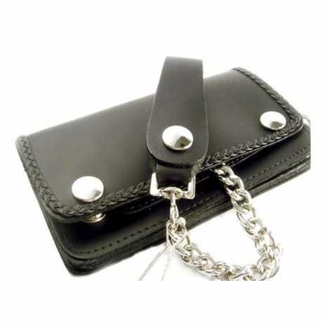 Amigaz Amigaz Leder Geldbörse schwarz mit Kette & geflochtenem Rand  - 563416
