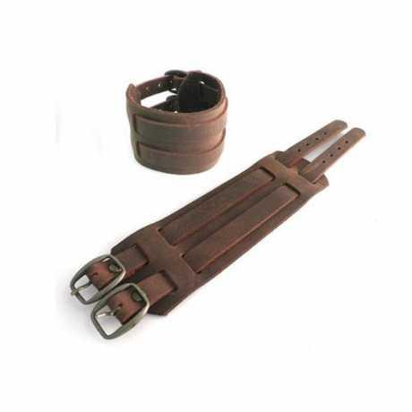Amigaz Amigaz Leder Manschetten-Armband mit Schnallen braun  - 563448