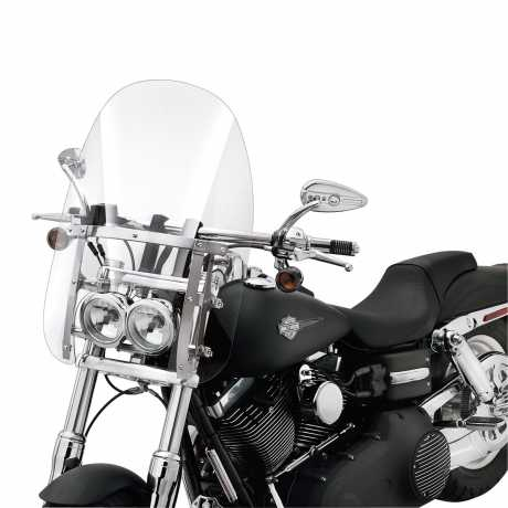 """Harley-Davidson Quick-Release Compact Windshield 19"""" clear & polished Braces  - 57338-08"""