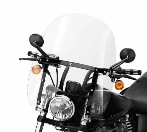 """Harley-Davidson Quick-Release Compact Windshield  19"""" clear & black Braces  - 57400021"""