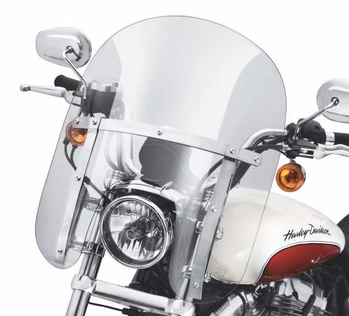 "Harley-Davidson Quick-Release Compact Windshield 14"" light smoke & polished Braces  - 57802-11"
