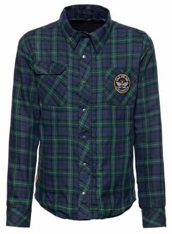 King Kerosin King Kerosin Racing Skull checkered shirt dark blue/green  - 592379V