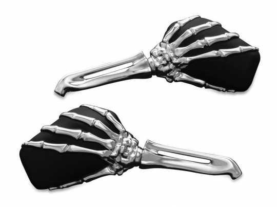 Küryakyn Küryakyn Skeleton Hand Mirrors with Chrome Stems and Black Heads  - 61-8078