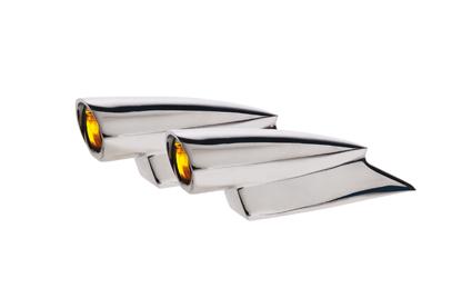 Custom Chrome Chrome Mini Hot Spot Lights with Amber lens  - 61-0490