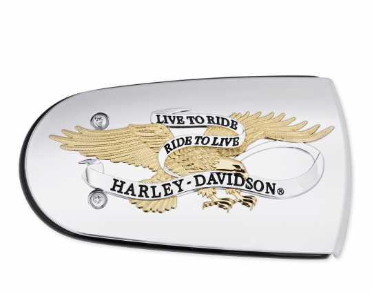 Harley-Davidson Luftfilter-Zierblende Live To Ride gold & chrom  - 61300220