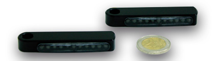 Kodlin Stripe Short LED turn signal, front, black  - 61-8111