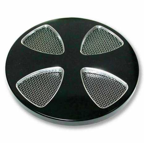 Custom Chrome Black Smooth Cross Air Cleaner Cover  - 62-9332