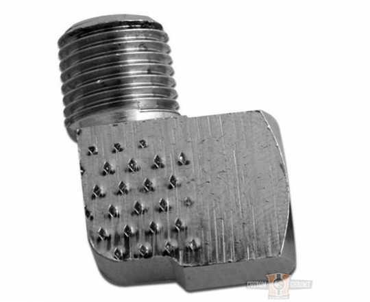 Ölleitungsanschlüsse chrom 1/4 NPTx90  - 63-3244