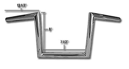 """Jammer Jammer Z Bars 60s Narrow Style 8"""" chrome  - 63-2334"""