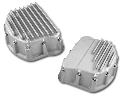 Custom Cycle Engineering Finned Dishpan Rocker Cover set  - 63-2740