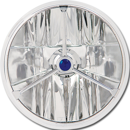 "Adjure Adjure 7"" Headlight Insert Wave Cut, Tri-Bar & Blue Dot, chrome  - 63-4110"