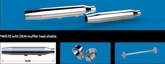 """Khrome Werks Khrome Werks 3"""" HP+ Taper Mufflers chrome  - 64-2302"""