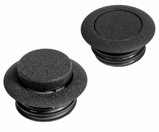 Custom Chrome Pop-Up Tankdeckelset belüftet+unbelüftet, schwarz  - 65-3087