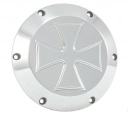 Hells Kitchen Choppers HKC Derby Cover 6 Loch Iron Cross polished  - 65-3329