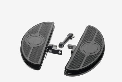 Custom Chrome Adjustable oval shaker floorboards, black  - 65-1806