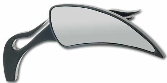 Custom Chrome Eclipse Spiegel mit Flame Halter schwarz  - 65-1832
