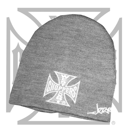 West Coast Choppers West Coast Choppers Iron Cross Beanie grey  - 65-3378