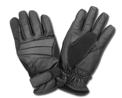 Custom Chrome AL24 Leather Gloves, black  - 65-3878V