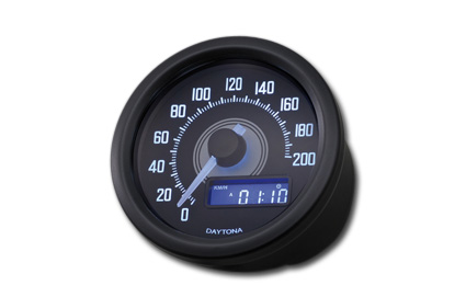 Daytona Japan Velona Speedometer, White LED, BLK 200 km/h  - 65-3940