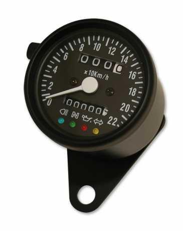 Custom Chrome Analog Tacho 60mm mit Kontrolleuchten & Antrieb per Tachowelle (Vorderrad)  - 65-5815
