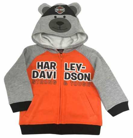 H-D Motorclothes Harley-Davidson Kinder Zip Hoodie Bear grau & orange  - 6564907V