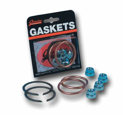 James Gaskets James Gasket Kit, Exhaust Mounting, w/ Copper Crush Rings & Flange Nuts,  - 66-7098