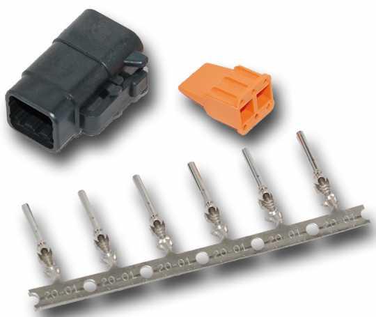 Namz Namz Deutsch DTM 6-Position Black Plug with (6) Stamped Terminals & Wedgelock.  - 67-0822