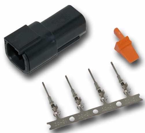 Namz Namz Deutsch DTM 4-Position Black Receptacle with (4) Stamped Terminals & Wedgelock  - 67-0827